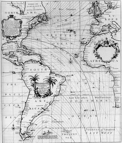 Edwin Halley's (1701) isogonic contour map