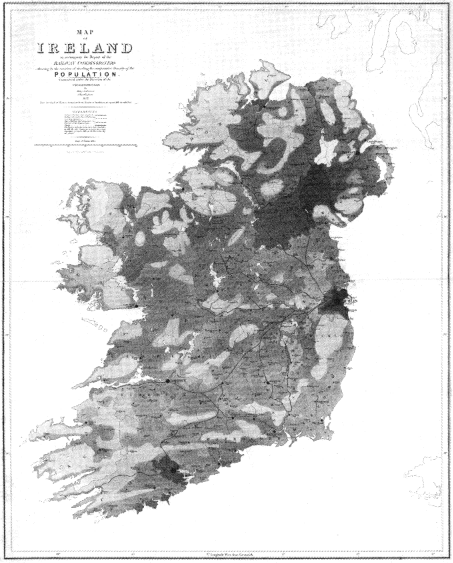 the earliest proportional symbol map, of Irish population, published by Henry Drury Harness in 1837