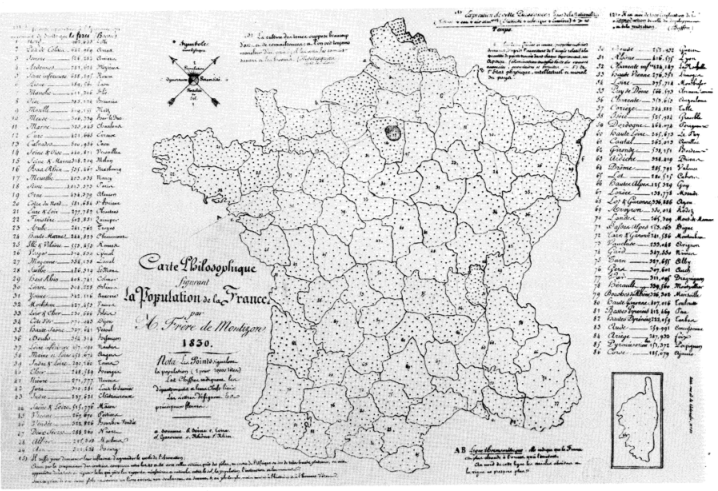 the earliest dot density map, produced by Frère de Montizon in 1830