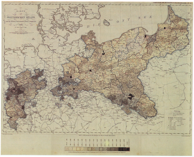 the earliest classed choropleth, included in an 1828 Prussian atlas